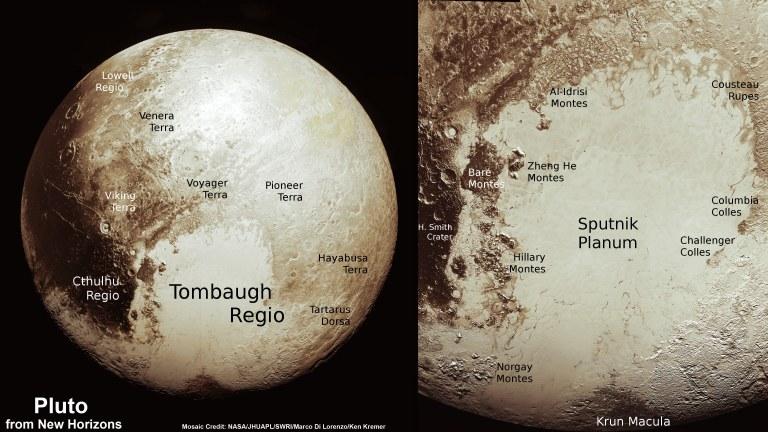 Plutón y detalles de su superficie