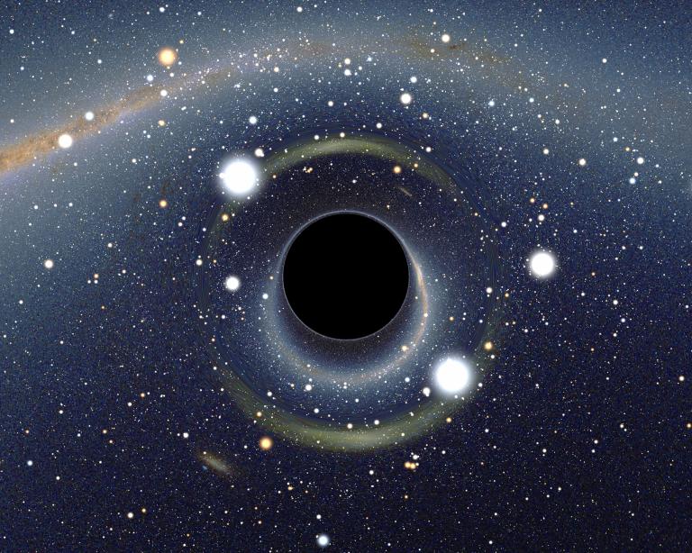 Simulación de un agujero negro en frente de la Gran Nube de Magallanes. Autor: Alain R.